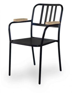 Μεταλλική πολυθρόνα με ξύλο στα χερούλια Σιδερένια κατασκευή με ηλεκτροστατική βαφή.