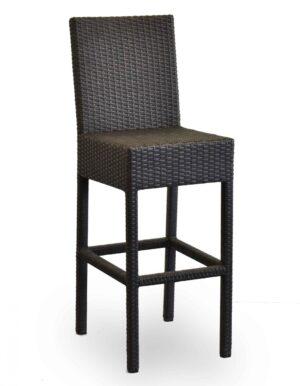 Σκαμπό με πλάτη Σκελετός αλουμινίου με πλάτη και κάθισμα απο rattan