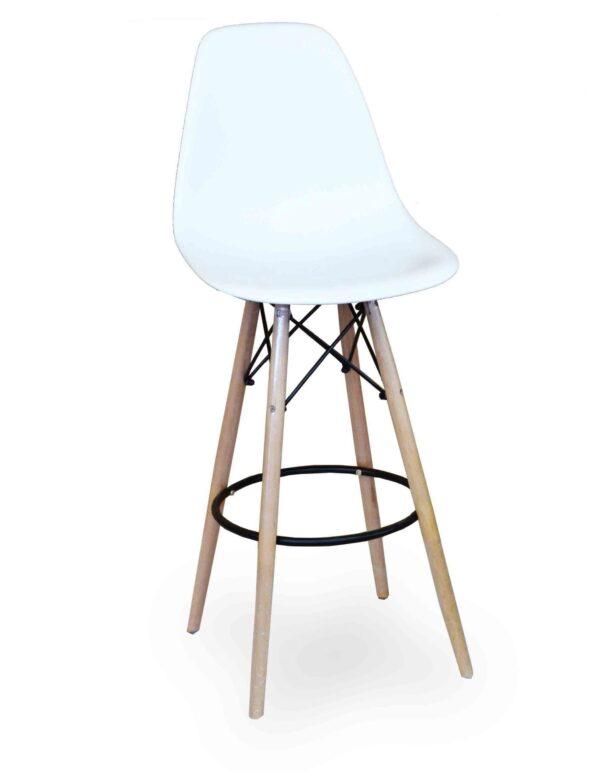 Σκαμπό με βάση από ξύλο και μέταλλο και κάθισμα απο πλαστικό