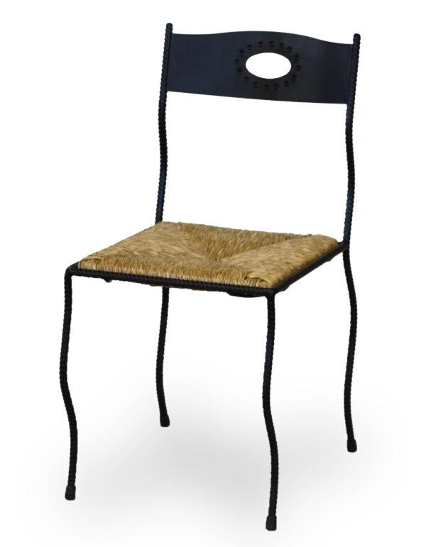Καρέκλα με μεταλλικό σκελετό και κάθισμα από δερμάτινη ύφασμα ξύλο η ψάθα στα χρώματα της επιλογής σας