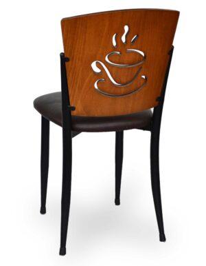 Καρέκλα με μεταλλικό σκελετό και πλάτη από ξύλο το κάθισμα μπορεί να γίνει από δερμάτινη ύφασμα η ξύλο στα χρώματα της επιλογής σας