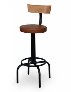 Μεταλλικό σκαμπό με ξύλινη πλάτη. Μπορεί να γίνει στο ύψος και στα χρώματα της επιλογής σας Το κάθισμα μπορεί να είναι από δερματίνη, ύφασμα η ξύλο!